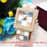 CP01G JAM TANGAN WANITA CHOPARD MOTIF CATUR GOLD LADIES WATCH