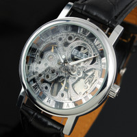 ESS Luxury Men Leather Skeleton Hand-Wind Up Automatic Mechanical Watc