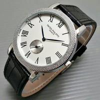 Jam Tangan Pria / Cowok Luxury Patek Phillipe Leather Black Silver