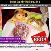 Paket Squishy Medium 3 in 1: Rilakkuma, Kelinci Emoticon & Donat Bunga