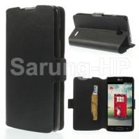 LG L90 Dual D410 - Hitam Doormoon Leather Case Flip Cover dompet mewah