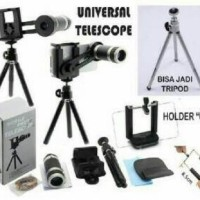 Lensa Pembesar Kamera HP 8X Tele zoom paket Tripod dan Holder U Medium