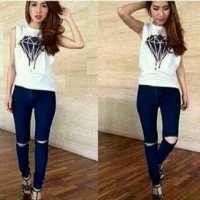 celana panjang wanita/sobek/skinny/soft jeans street