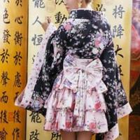 import mini Yukata kimono gothic geisha anime cosplay costume