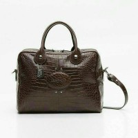 Tas Longchamp Quadri Croco Brown Large Vil