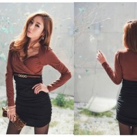 DRESS LENGAN PANJANG HITAM COKLAT IMPORT (3324)