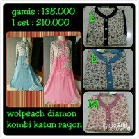 Gamis Syari Wanita Dewasa Long Dress Wolfis Diamond Kombi Katun Rayon