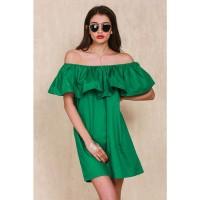 Jual Dress Wanita Sabrina Ruffles Slash Neck Dress Hijau Murah