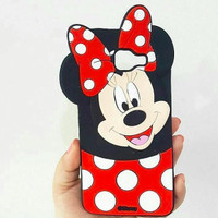 Jual Silicone Case Minnie Mickey Mouse Polkadot Samsung J3 J5 J7 A7 Murah