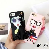 FOR IPHONE 7 PLUS - SOFT FASHION GIRL GLASSES TASSEL KOREAN CASE CASIN