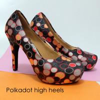 Jual Sepatu High Heels New Polkadot Murah
