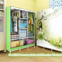 08 MUSIC Lemari pakaian Multifunction Wardrobe with cover rak pakaian
