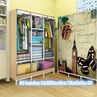 08 LONDON Lemari pakaian Multifunction Wardrobe with cover rak pakaian