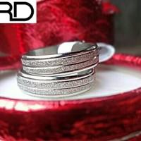 Cincin Couple Titanium Emas Putih Silver Pasir (Ring Pria Wanita 5678)