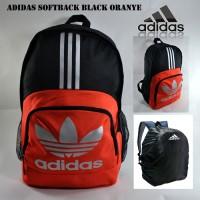 Tas Ransel Adidas Backpack Sekolah Pria Adidas Softback Black Oranye