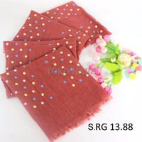 TERBATAS Pashmina Hijab Jilbab Kerudung marun merah bata motif polkado