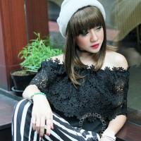 Jual Sabrina Top Chroket Lace (Baju import Bangkok) Murah