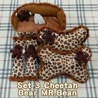 Set Bantal Mobil 3 in 1 Boneka MR. BEAN Motif CHEETAH