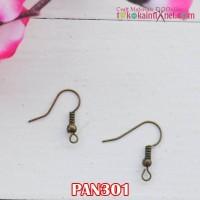 PAN301 Pengait Anting Panjang 2 cm Kuning Bakar (1 Bks isi 24)