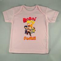 Baju Kaos Bayi Custom karakter Boboiboy - Pink - Gambar/tulisan beba