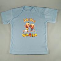 Baju Kaos Bayi Custom karakter Ipin Upin - Biru - Gambar/tulisan beba