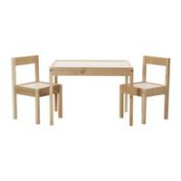 Meja Anak Dengan 2 Kursi, Putih - Kayu Pinus
