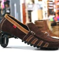 Sepatu Pria Adidas Slipon Bahan Kulit Buk Hitam Brown Rempel