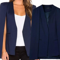 Kivee Cloak Blazer Biru Fashion Korea Model Lengan Terbuka (S,M,L)Hits