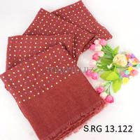 PROMO Pashmina Hijab Jilbab Kerudung marun merah bata motif polkadot m
