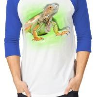 harga Kaos 3d Iguana Raglan Putih Biru Purih Hijau Putih Hitam Tokopedia.com