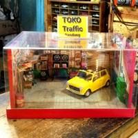 Diorama garasi bengkel mini cooper skala 1/24 konsep vintage