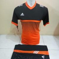 Setelan Futsal, Kostum Tim, Jersy Bola Adidas Hitam List Orange