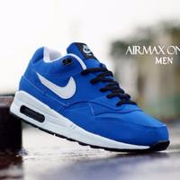 Sepatu Kantor / Sepatu Nike Air Max One Biru List Putih Size 40-44