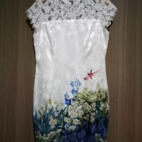 Dress Pesta Solemio Satin Crochete