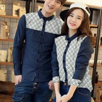 CP star navy-kemeja couple-motif batik-fashion couple-baju online-AL