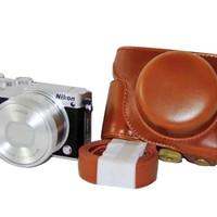 PROMO Rajawali Leather Case For Nikon 1 J5 - Brown / Cokelat LARIS