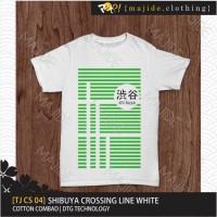 [TJ CS 04] SHIBUYA CROSSING LINE WHITE MAJIDE CLOTHING KAOS T-SHIRT