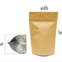 Standing pouch kraft aluminium foil + ziplock 16 x 24cm (100 Lbr)