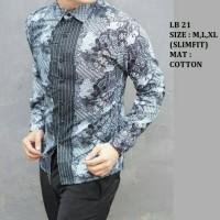 Jual Baju Batik Pria Slim Fit Modern Lengan Panjang LB21 Murah
