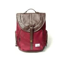 Tas Ransel Sekolah/Laptop/Backpack Unisex - Tuskbag Mozza Maroon ORI
