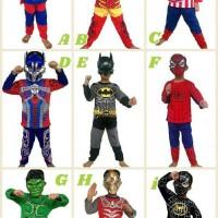 Baju Anak Kostum Topeng Superhero/baju Stelan Anak Kostume Size Besar