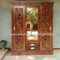 lemari pakaian jati pintu 3 geser ( furniture,duco,sofa,meja )