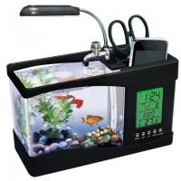 USB Desktop Aquarium Mini Fish Tank with Running Water - Akuarium Mini