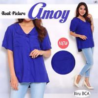 [ Blouse Amoy SW] pakaian wanita blouse korea warna Biru BCA #serba #m