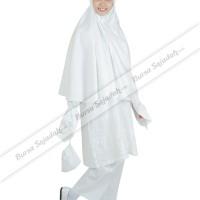 Stelan Busana Wanita Muslim Jilbab Warna Putih - Ihrom Alida Sykava