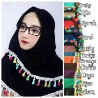 Jual Jilbab/ Hijab/ Kerudung/ Khimar - Segiempat Tassel Renda Import Murah