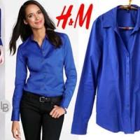 harga H&M Blue Pasadena shirt kemeja merk ori 100% A948 Tokopedia.com