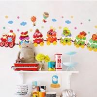 Cake Train AY769 - Stiker Dinding / Wall Sticker (50x70)
