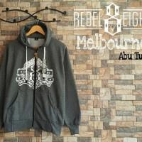 Baju Sweater Cowo Rebel 8 Abu Tua Fleece Hoodie Kupluk Murah Terbaru