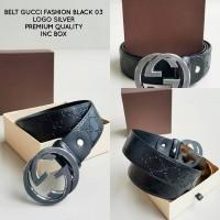 BELT GUCCI FASHION EMBOSS BLACK SILVER 03 PREMIUM | IKAT PINGGANG PRIA